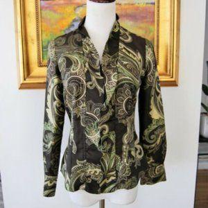 Silk Ann Taylor Paisley Blouse Sz10 Green & Brown